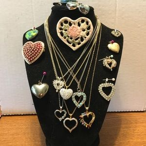 Jewelry - Vintage To Present 15 Pieces Heart Shaped Jewelry